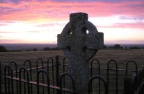 High cross at dusk